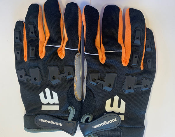 Mongoose L/XL Full Finger Bike Bicycle Padded Gloves Black BMX Mountain New