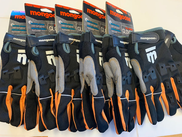 Lot of 6 Mongoose L/XL Full Finger Bike Bicycle Padded Gloves BMX Mountain New