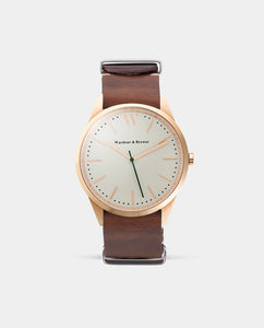 The Original 40mm Rose Gold – Brown Nato Leather