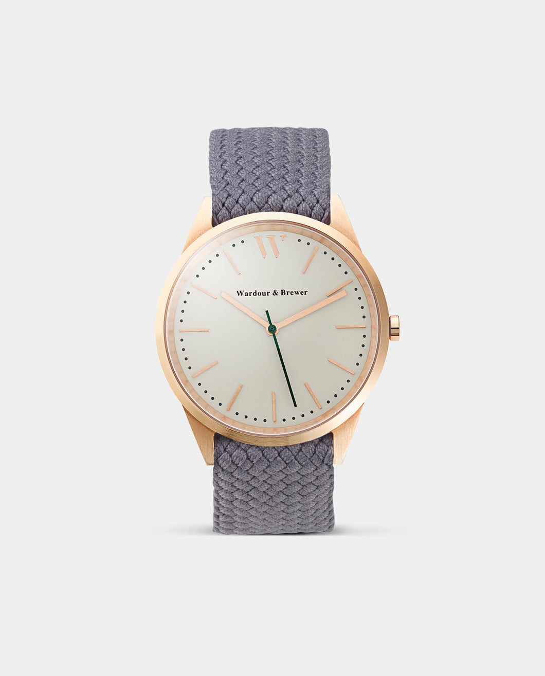 The Original 40mm Rose Gold – Cloudy Grey Perlon Strap