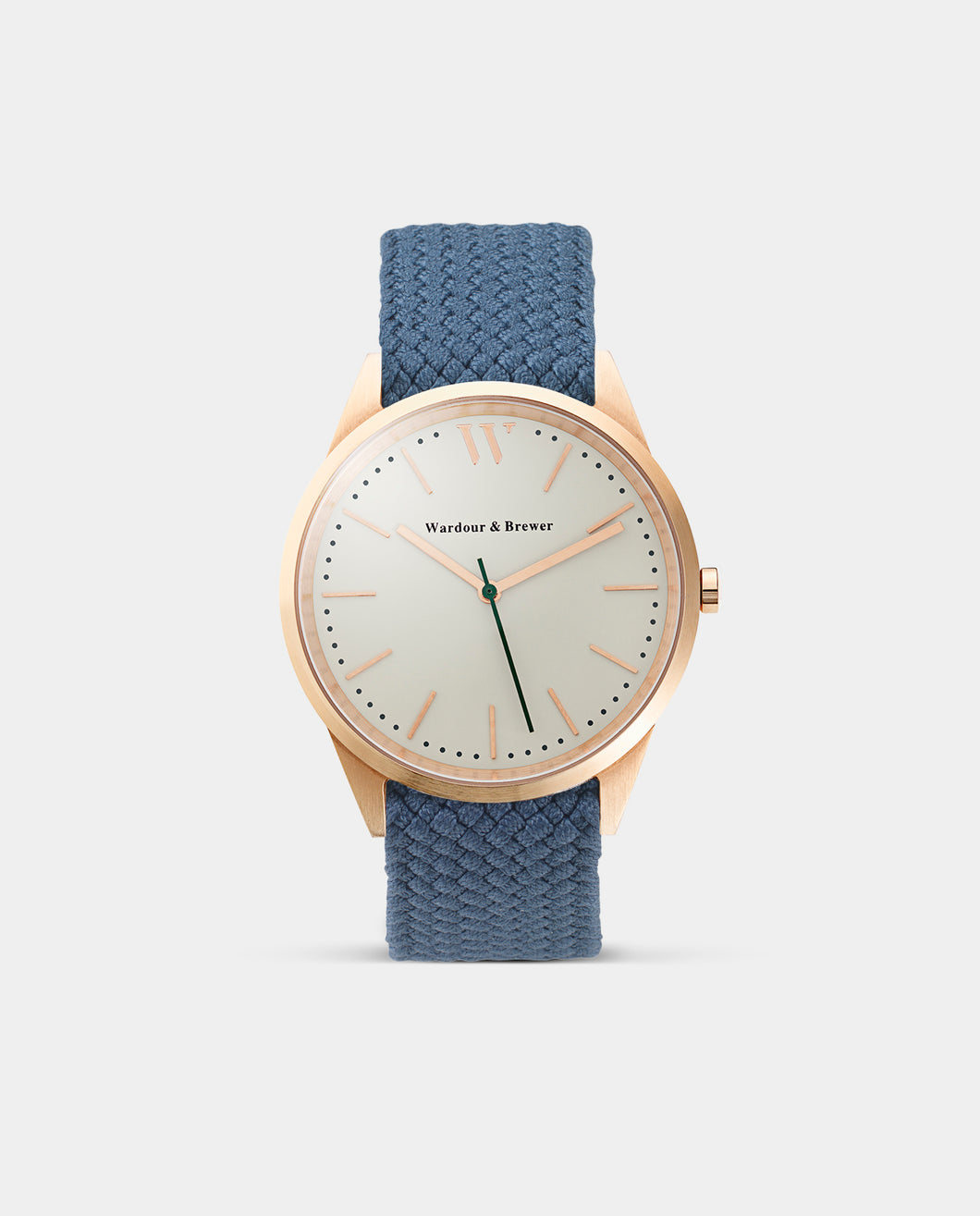 The Original 40mm Rose Gold – Deep Blue Perlon Strap