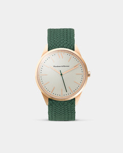 The Original 40mm Rose Gold – Green Perlon Strap