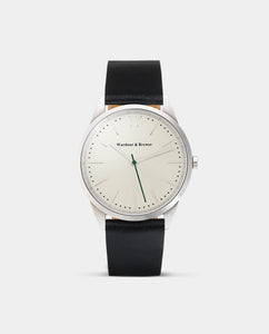 The Original 40mm Silver - Black Leather