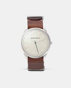 The Original 40mm Silver – Brown Nato Leather