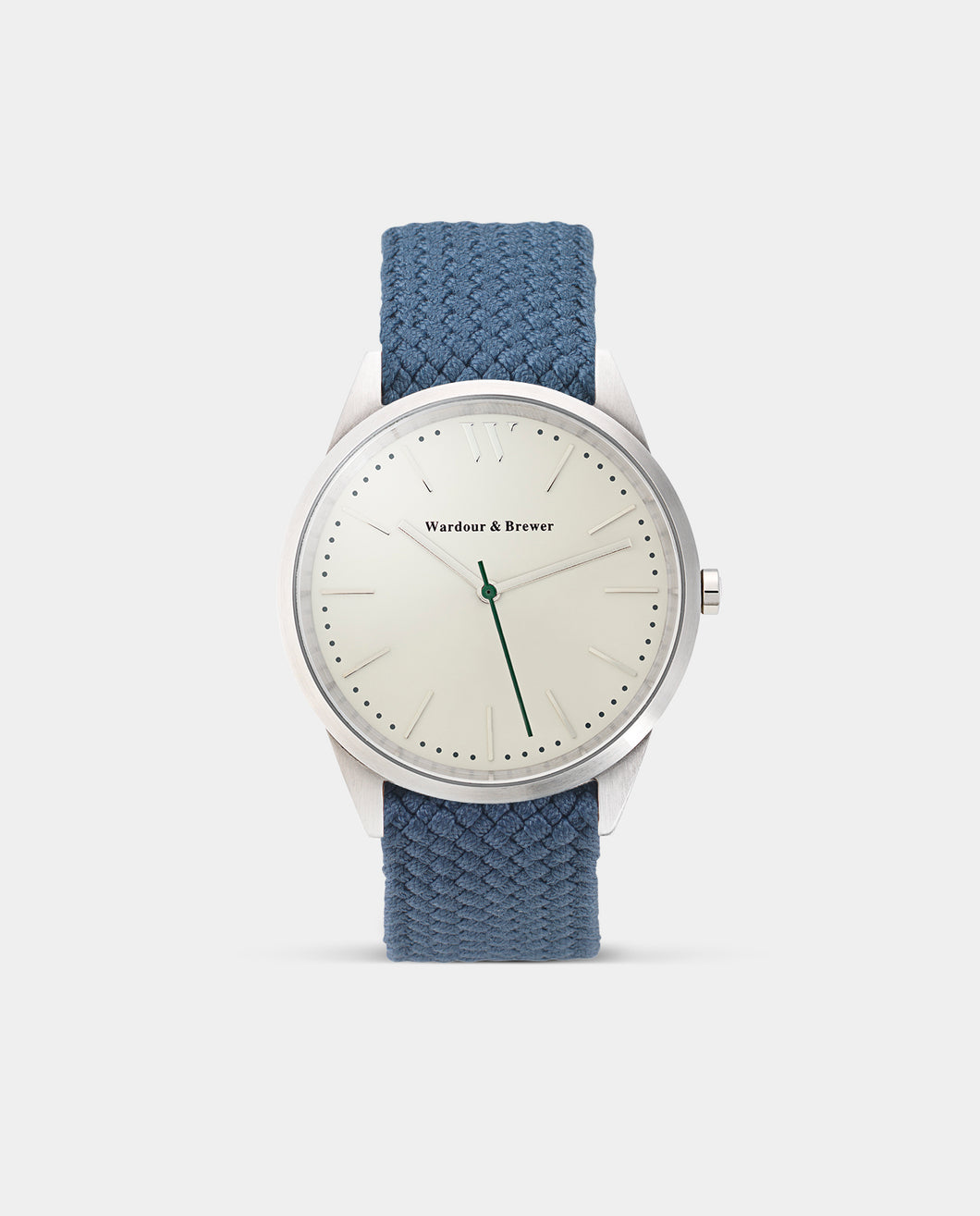 The Original 40mm Silver – Deep Blue Perlon Strap