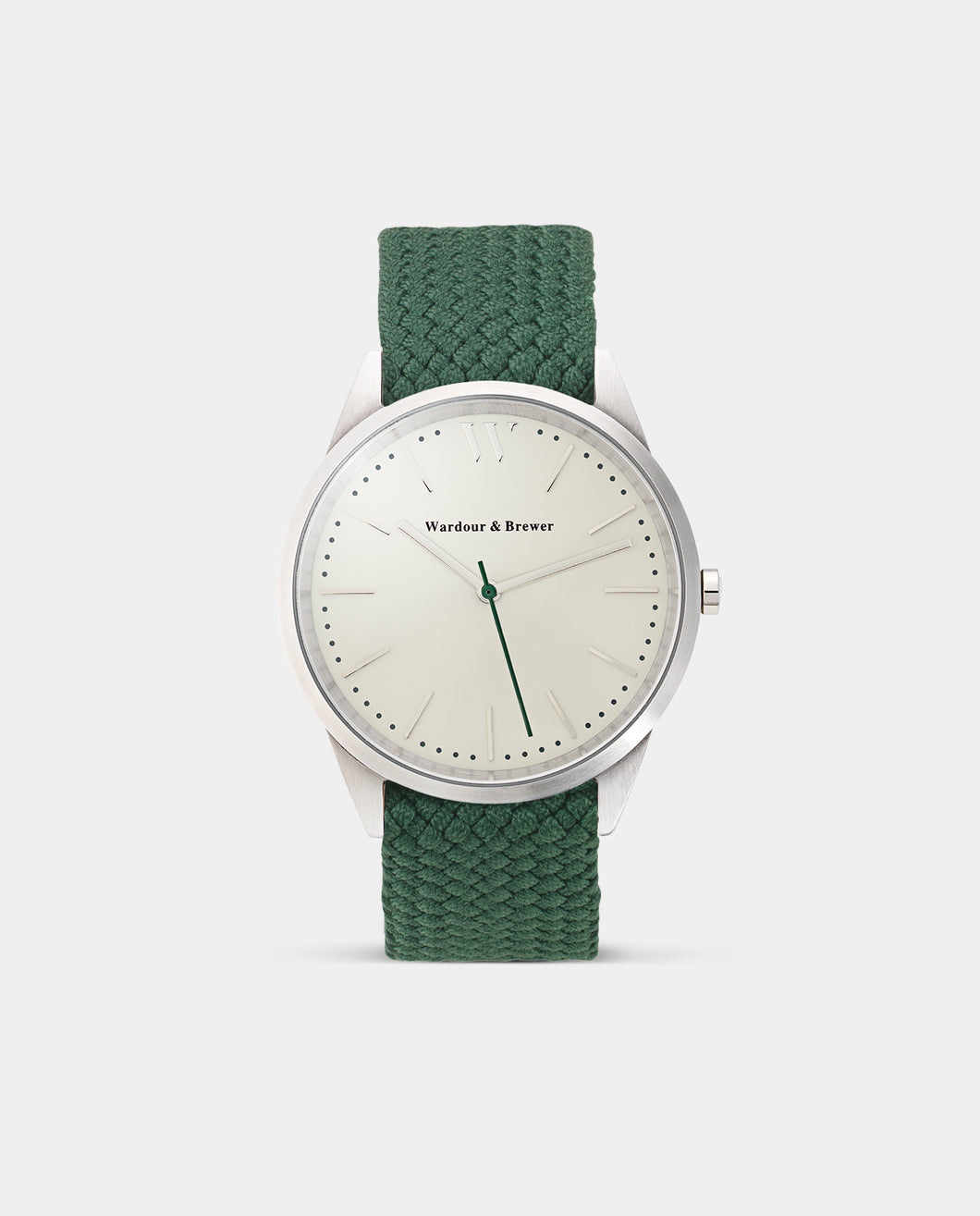 The Original 40mm Silver – Green Perlon Strap