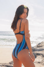 MYA - Grommet Strap Striped Maillot