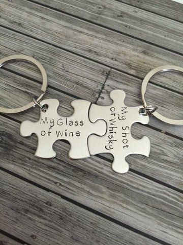 Glass of wine, shot of whiskey, couples keychains, couples gift
