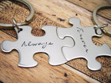 Always Forever Keychains in Cursive Script Font, Couples Keychains
