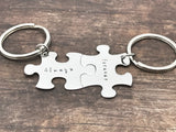 Always Forever Puzzle Keychains in new Font, Couples Keychains