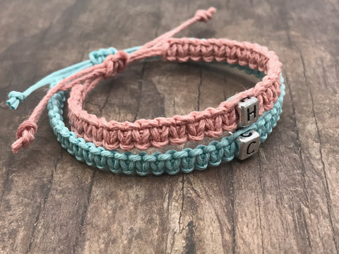 Initial Couples Bracelets made with Hemp and Adjustable one size fits all