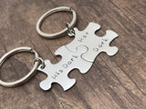 His Dork Her Dork Couples Keychains, Puzzle Keychain set, Stainless Steel