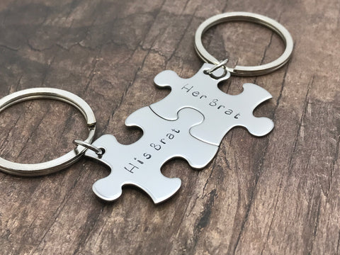 His Brat Her Brat Keychains for Couples Puzzle Pieces , Anniversary Gift