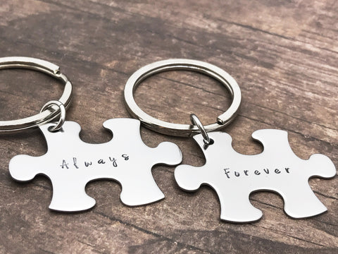 Always Forever Puzzle Keychains in new Font, Couples Keychains , Anniversary Gift