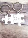Puzzle Piece Keychain, I love you Sign Language, Finger Spelling, Couples Keychains