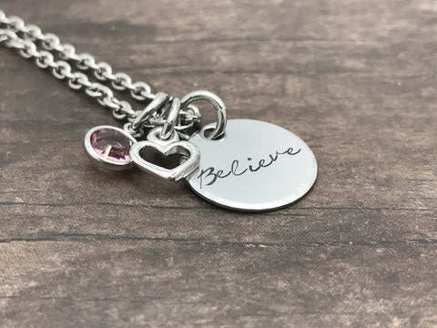 Believe necklace, Heart Charm, Birthstone Necklace, Gift for her, Mom Necklace