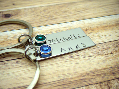 Birthstone Name Keychains, Couples Keychains, Personalized Gift