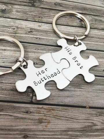 Her Butthead His Brat Couples Keychains, Couples Gift, Funny Christmas Gift