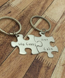 His Crazy Her Calm, Couples Keychains , Anniversary Gift