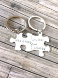 His Crazy Her Weirdo puzzle piece keychain set, Couples Keychains , Anniversary Gift
