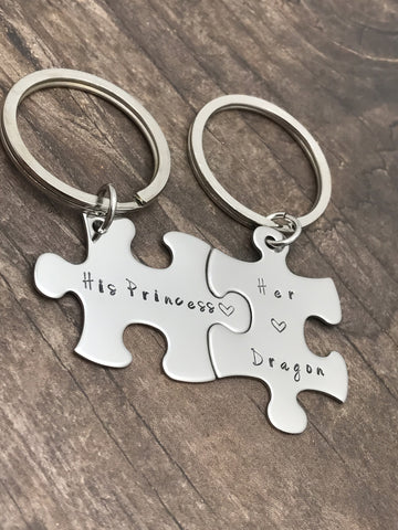 His Princess Her Dragon Keychains, Puzzle Keychains for Couples, Couples Gift , Anniversary Gift
