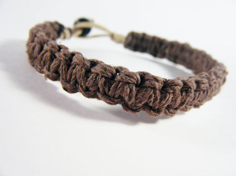 Mens Bracelet Mens Gift Thick Brown Hemp, Eco-Friendly Bracelet