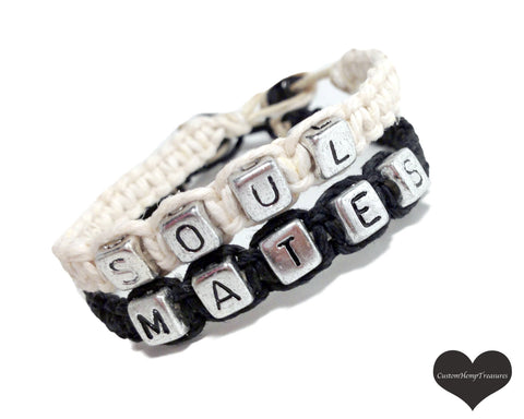 Soul Mates Bracelets, Couples Bracelets, Hemp Bracelets, Personalized Jewelry