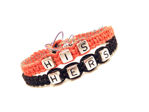 His Hers Bracelets, Couple Bracelet, Boyfriend Gift, Coral Black