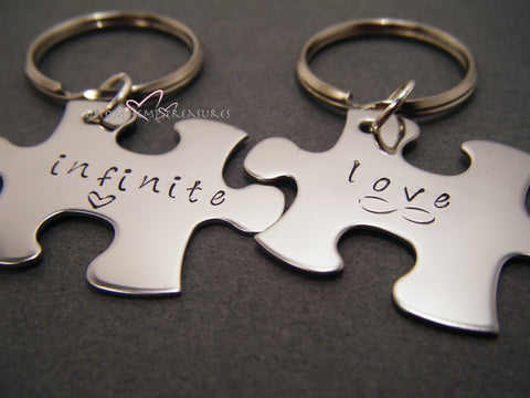 Infinite Love Couples Keychains, Puzzle Piece Keychains, Personalized Keychains