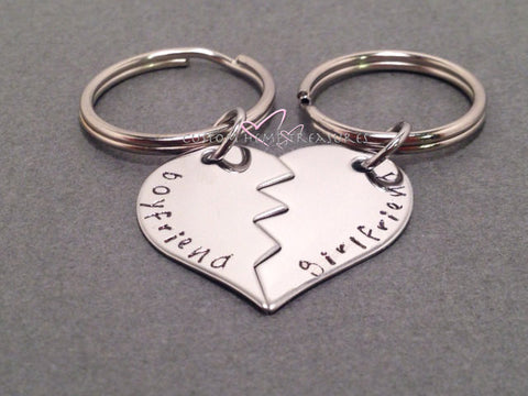 Broken Heart Couple Keychains, Boyfriend Girlfriend Keychains , Anniversary Gift