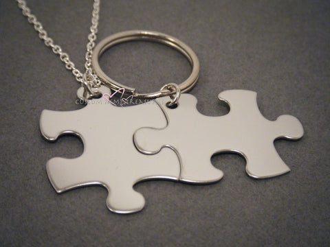 Puzzle piece Keychain and Necklace set, Non Custom Set, Couples Gift , Anniversary Gift