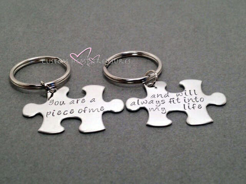 Couples Keychains, Long Distance Relationship, You are a piece of me