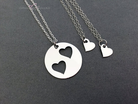 3 Mother Child Necklaces, Double Open Heart Necklace, Heart Charm Necklaces