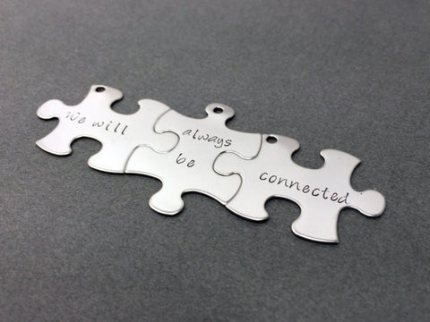 3 Friendship Keychains, Set of 3 Puzzle Key Chains, We will always be connected