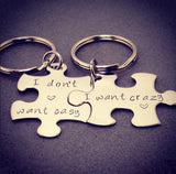 I don't want easy I want Crazy Keychains, Gift for Couples, Couples Keychains
