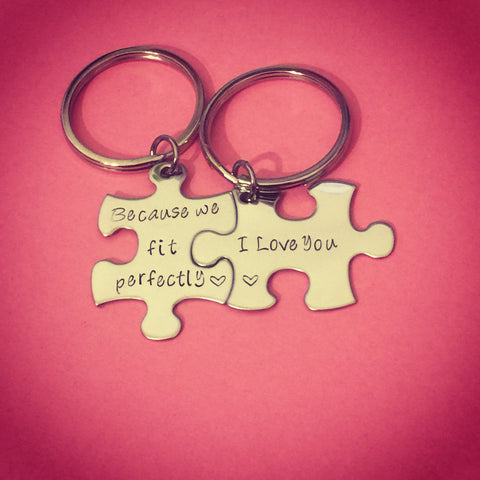 Because we fit perfectly i love you, Couples Keychains, Couples Gift , Anniversary Gift