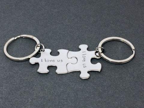 I Love Us, Couple Keychain, Couples Gifts, Puzzle Piece Keychain Set, Anniversary Gift