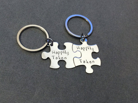 Happily Taken Keychains, Puzzle Piece Keychains, Couples Keychains, Couples Gifts