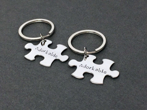 Adorkable Keychains Couples, Geek Gift, Geek Keychains, Puzzle Keychains, Couples Gift