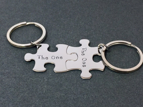 The One Puzzle Piece Keychains, Couples Gifts, Couple Keychains