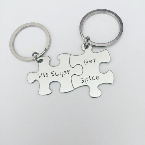 His Sugar Her Spice Keychains, Couples Keychains, Puzzle Piece Keychain Set