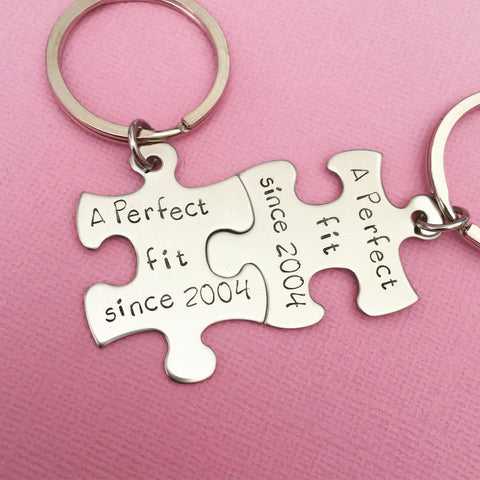 A perfect fit since Couples Gift Date Keychains Anniversary Date Year Established