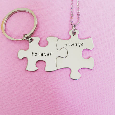 Always Forever necklace keychain set, couples gift, forever keychain, always necklace