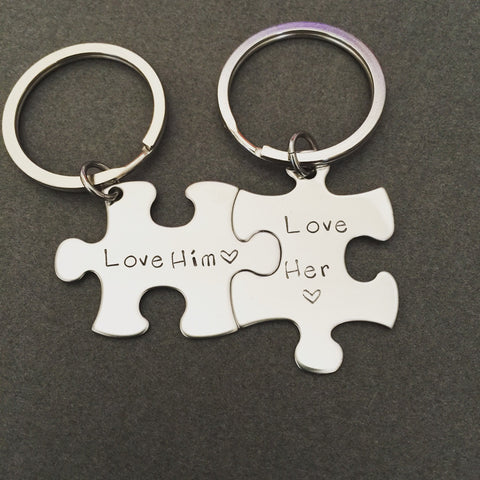 Love him love her keychains, personalized keychains, couples keychains, couples gift
