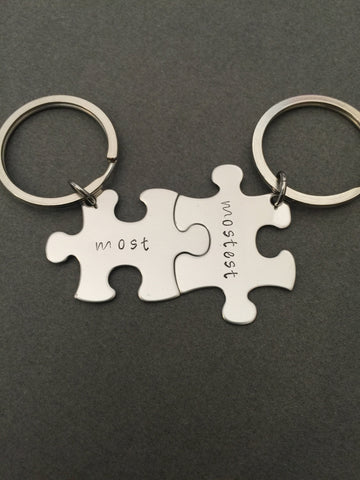 Most Mostest Keychains, personalized keychains, couples keychains gift