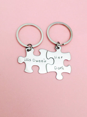 His Dweeb Her Dork, Couples Keychains, Couples Puzzle Keychains
