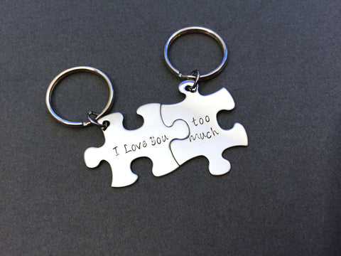 I love you too much, Couples Keychains, Puzzle Piece Keychain Set
