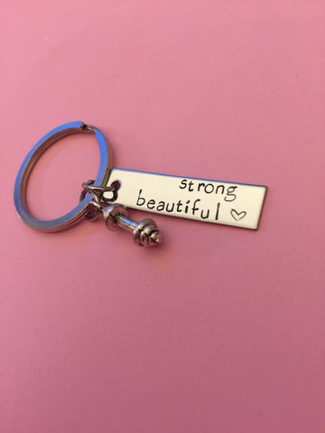 Strong beautiful keychain, heart stamp, dumbbell charm, fitness keychain , Anniversary Gift