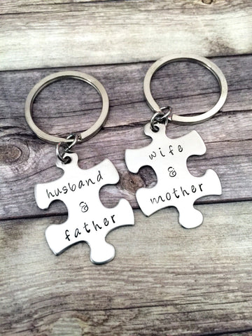 Husband Wife, Father Mother, Couples Keychains,