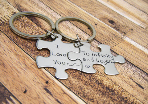 I Love you to infinity and beyond, couples keychains